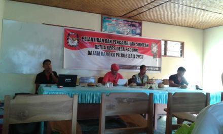 Rapat Pelantikan dan Pengambilan Sumpah ketua KPPS dalam Rangka Pilgub 2018